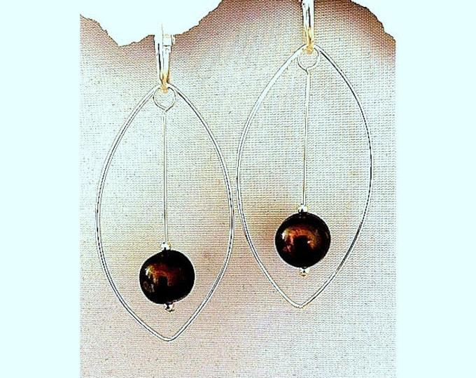 2 Pr Set, Pearls and Silver- Black/Brown pearl & 92.5 Marquis charm/Hoolas slide on hoops for earrings.  Hoops not included