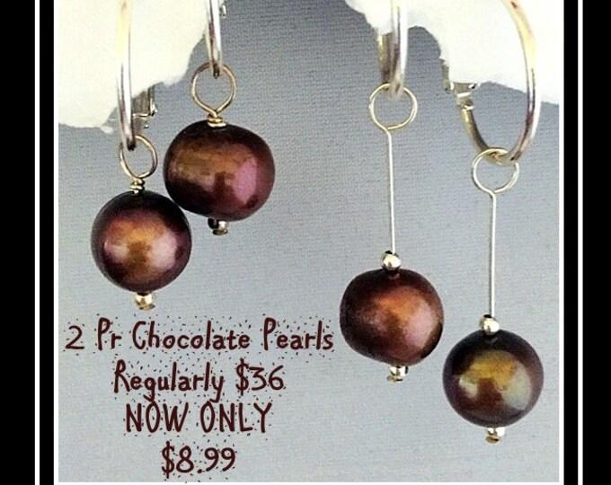 Pearl 2 pr set-Interchangeable Chocolate Brown Pearls, slide on hoop for earrings