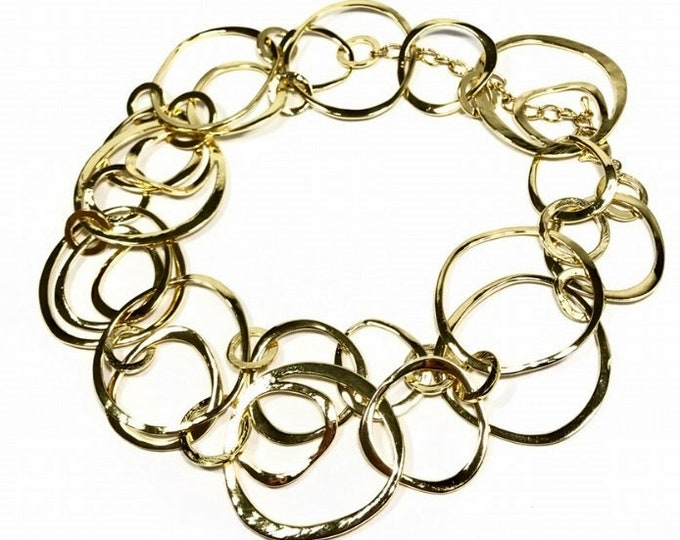 Hammered Circles Gold Necklace- Gold Chains, Hammered