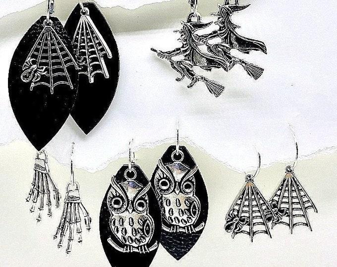 Halloween Earrings Dangle, Long, Halloween silver Earrings, Black. Interchangeable earrings