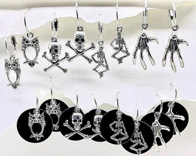 Halloween Earrings, Silver halloween Earrings, Medium, Halloween hoop earrings, interchangeable