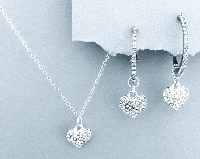 Love You Valentines Set- Heart Necklace & Earrings, Bling, Silver