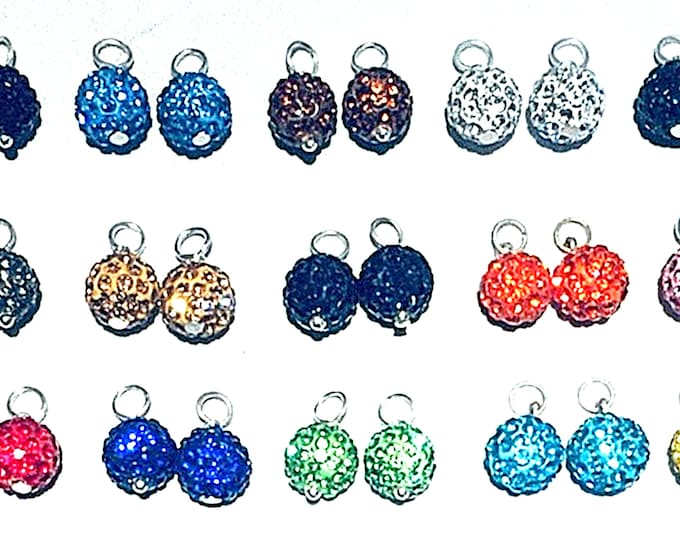 Interchangeable Bling Ball Hoolas, charms add to hoop earrings,15 Vivid Colors
