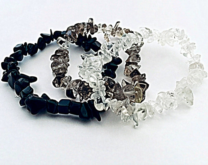 Gemstone Bracelet Set - bracelets, set of 3,  Onyx, Smokey Topaz and Crystal
