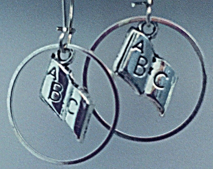 Teacher Earrings- Interchangeable ABC & Circle charm Hoolas