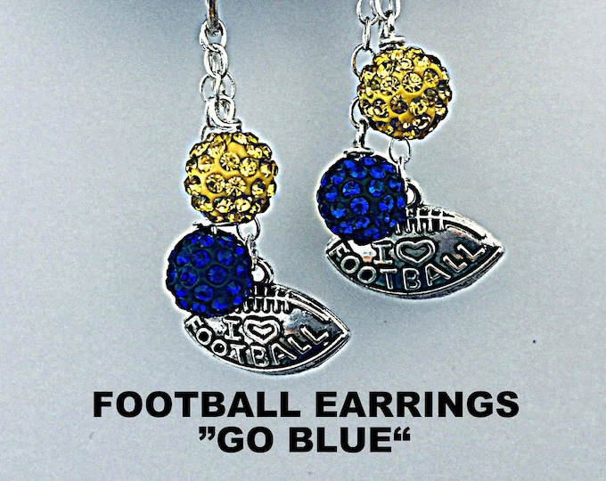 Football Earrings - Blue and Gold, U of M, University of Michigan earrings