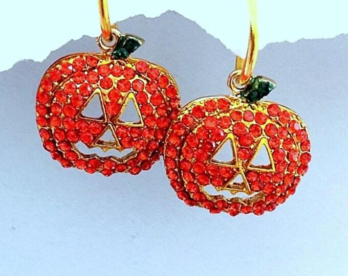 Halloween Pumpkin Earrings - bling pumpkins, pumpkin charms/hoolas