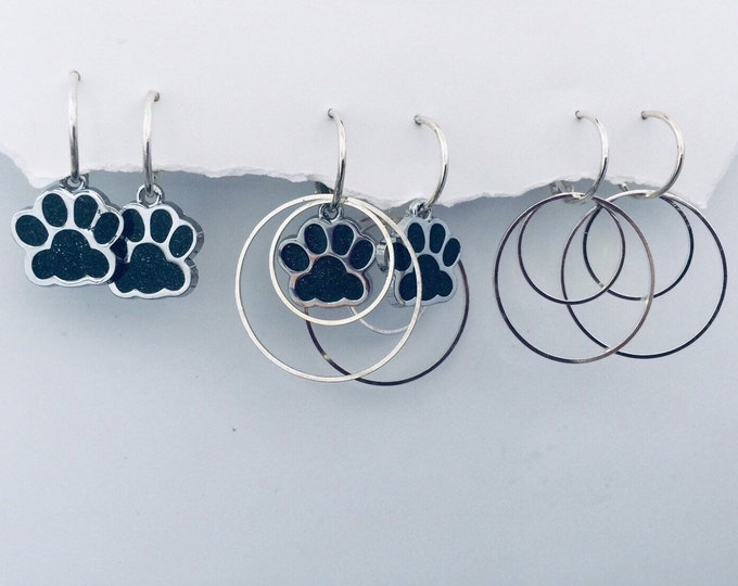 Pet Paw Earrings - interchangeable, Dog earrings, cat earring, Pet earrings