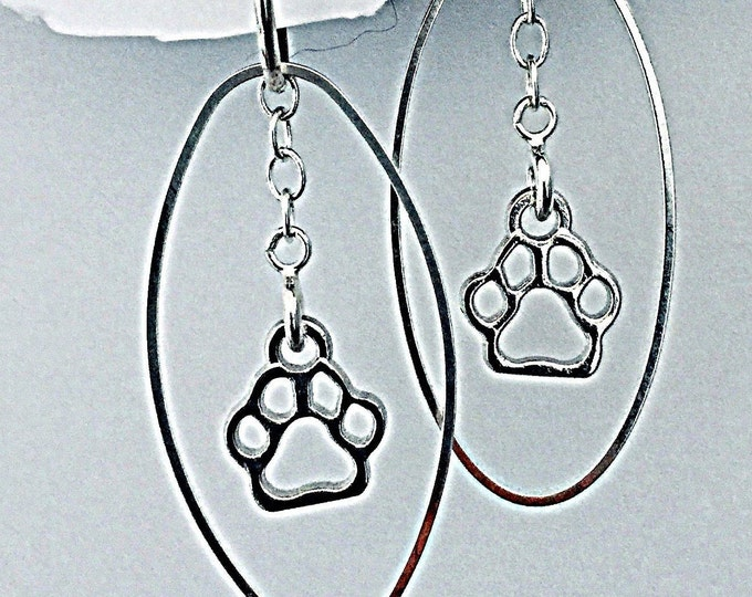 Pet Earrings set- Interchangeable paw charms, dog, cat, hearts & ovals