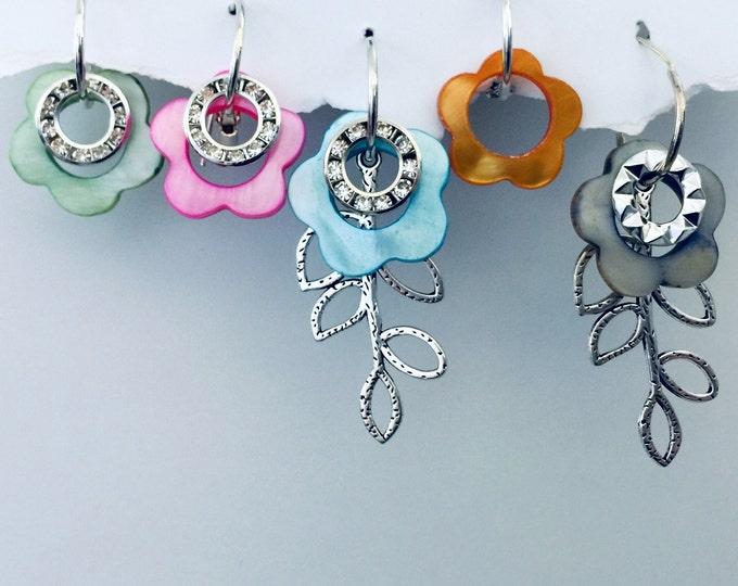 Flower Earring Set -Interchangeable Colored flowered shells, makes multiple earring designs