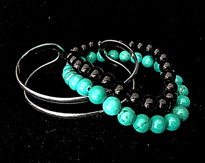 Turquoise Silver Bracelet Set-Turquoise, Silver, Pearl, stretch bracelet, Silver cuff bracelet