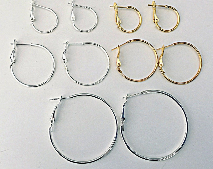 Hoop Earrings - Easy, snap back, gold hoops, silver hoops
