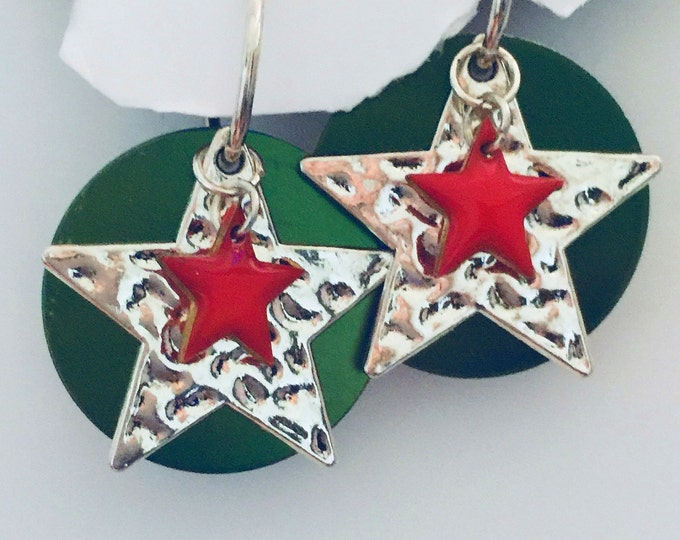 Christmas, Patriotic Earring Set- Interchangeable, two holidays, USA jewelry
