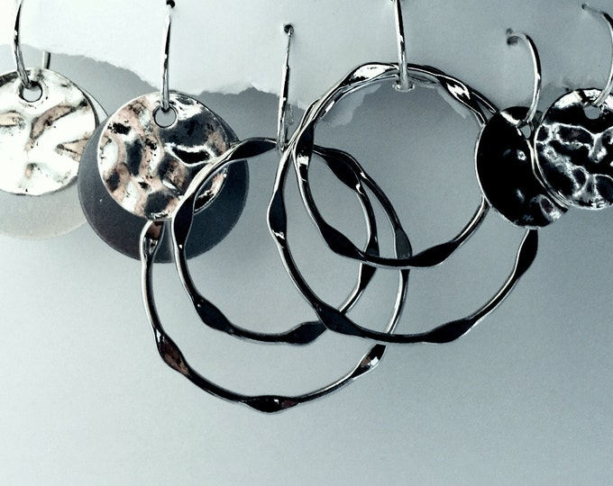Hammered Bold Earrings- Circles, Hammered Discs, Silver Circles, Interchangeable