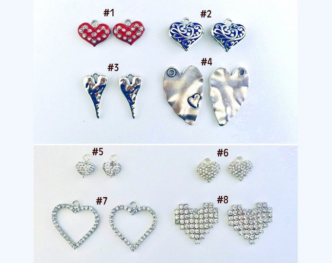 Heart Charms - Pairs, Interchangeable hearts slide on hoops or ear wires, SPECIALLY PRICED 4.99 to 9.99