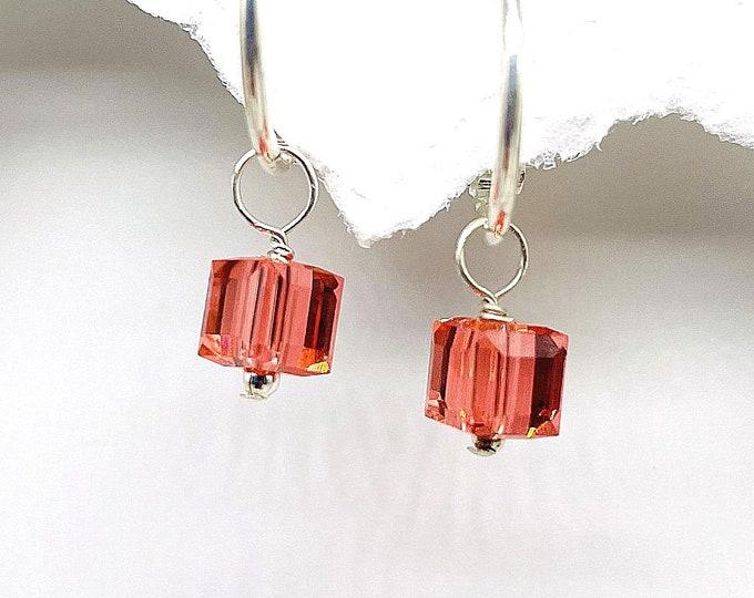 Swarovski Halloween charms, Swarovski earrings on hoops, Pumpkin color crystals