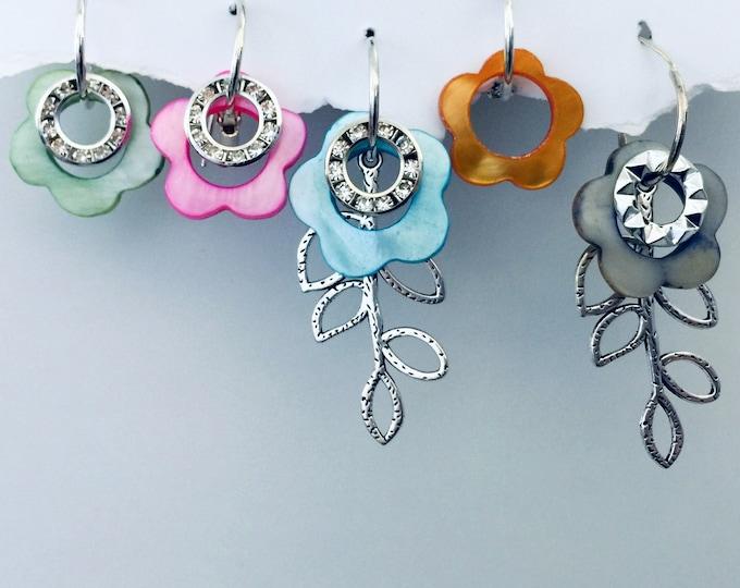 Summer Flower Dangle Earrings, Set, Interchangeable, Hoop earrings, shell earrings