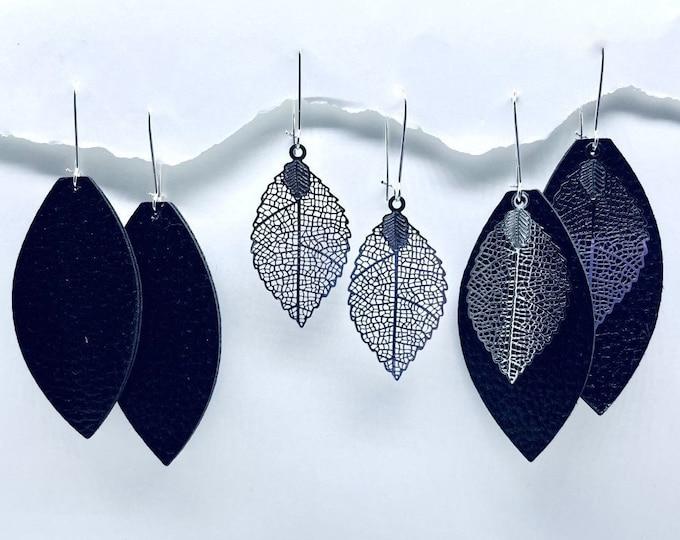 Fall Leaf Earrings, Black leather earrings, Fall Dangle Earrings,