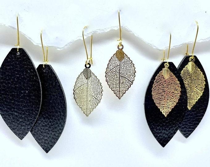 Gold Leaf Earrings, Fall Gold Leaf earrings, Filigree Leaf Earrings, Gold Dangle Earrings