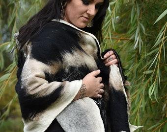 "Nunofelted oversized Shawl ""Elrohir"", Wool Felt Maxi Cowl, oversized Cowl, wrap around Wool Scarf, wrap style post apocalyptic felted Shawl"