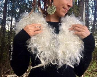 "Eco Fur Felted Wool Collar ""Liv"", Felted Shoulder Shawl, handfelted Collar, wool vegetarian Viking Cowl, Norse inspired Wool felted Shawl"