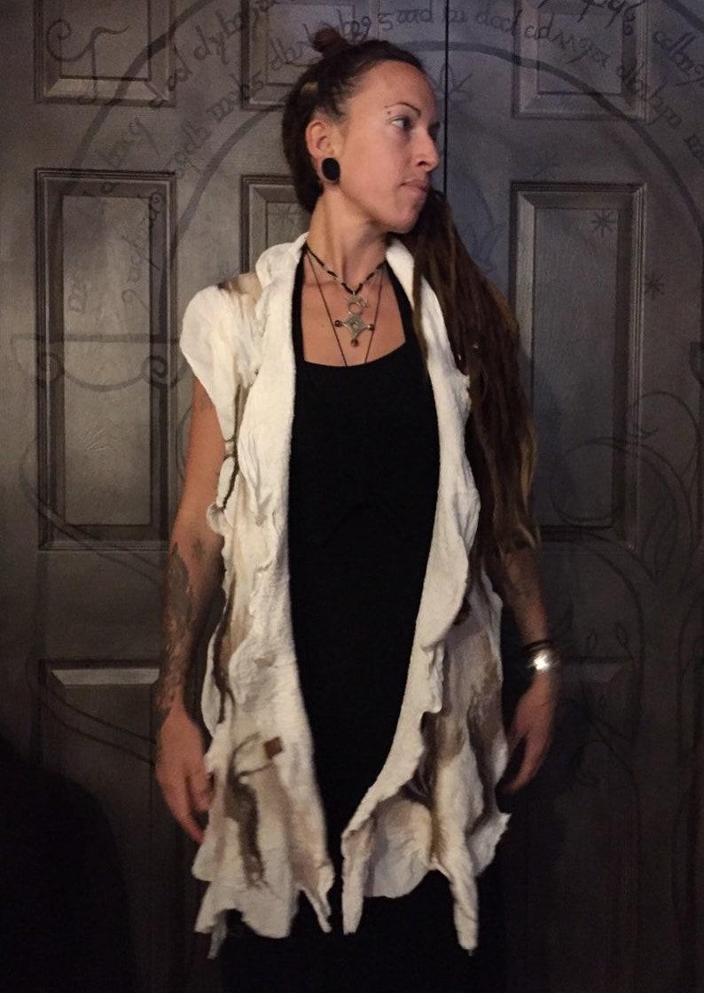 Woodland Forest inspired Wool felt vest OOAK felt vest LARP Cosplay Costume Nuno felted Vest Aldon Wool and Cotton handfelted vest