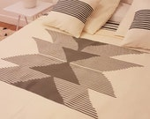 Natural Wool bed cover bedspread (Beige) - Handmade in Morocco