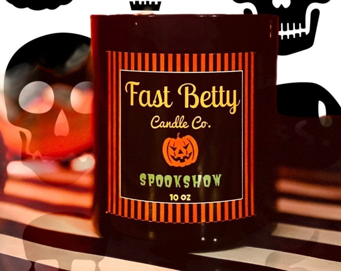 10oz | SPOOKSHOW | Halloween & Fall scented soy candle | black glass tumbler
