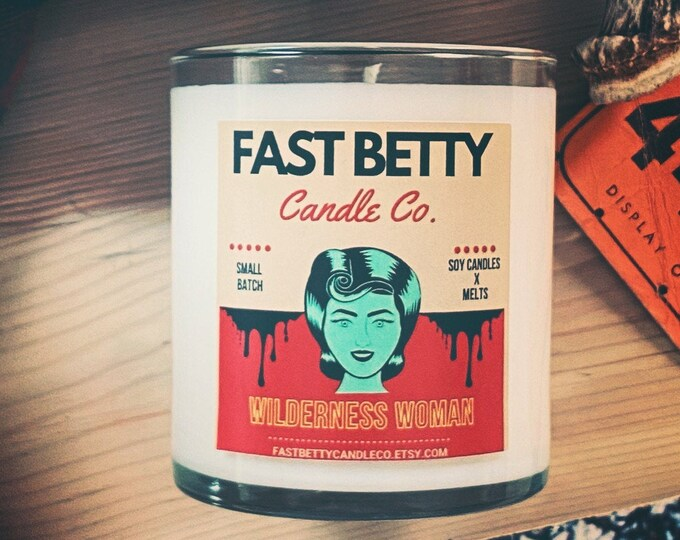 WILDERNESS WOMAN | soy candle | fireside | fraser fir | cedar | campfire | Cabin Scents | Woods | scented soy candle