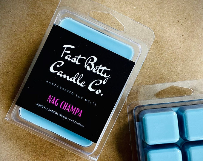NAG CHAMPA | WAX Melts | highly fragrant | hippie girl | incense | soy melts | sandalwood | small batch