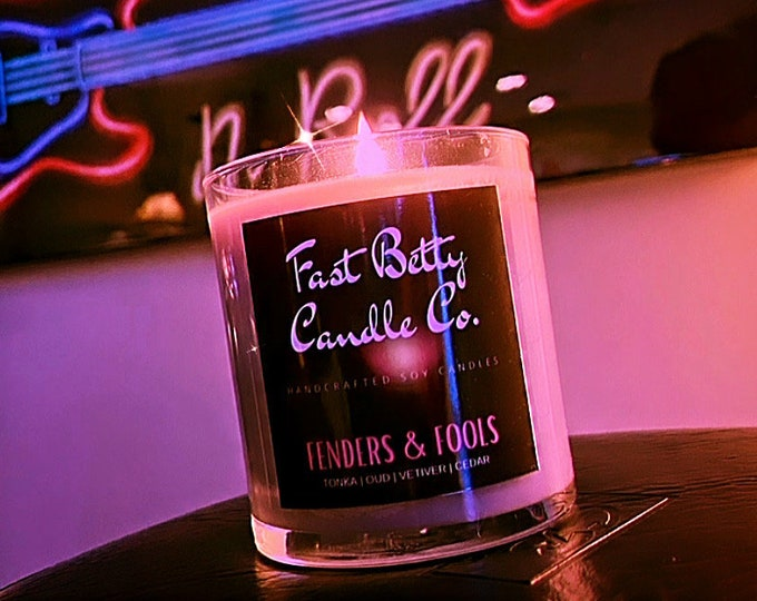 Featured listing image: 10oz FENDERS & FOOLS candle | soy candle | vetiver | cedar | frankincense and myrrh | gift for him