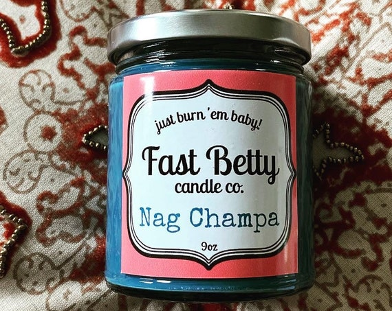 Nag Champa | Soy candle | incense scents |  hippie candle | Fast Betty | handmade
