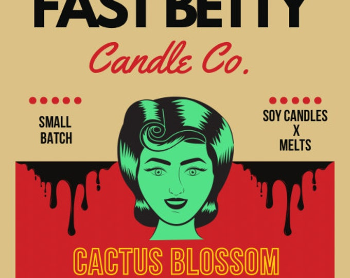 Featured listing image: CACTUS BLOSSOM   soy candle   fresh agave   aloe   hand poured   small batch   candle