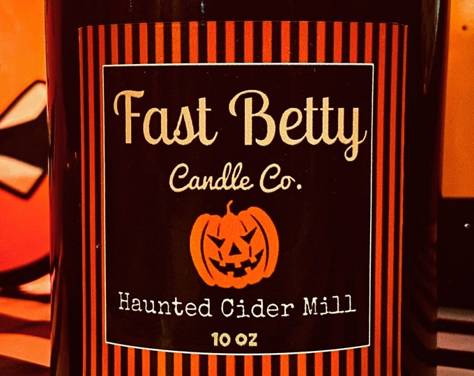 10oz | HAUNTED CIDER MILL | Halloween & Fall hand poured soy candle | black glass tumbler