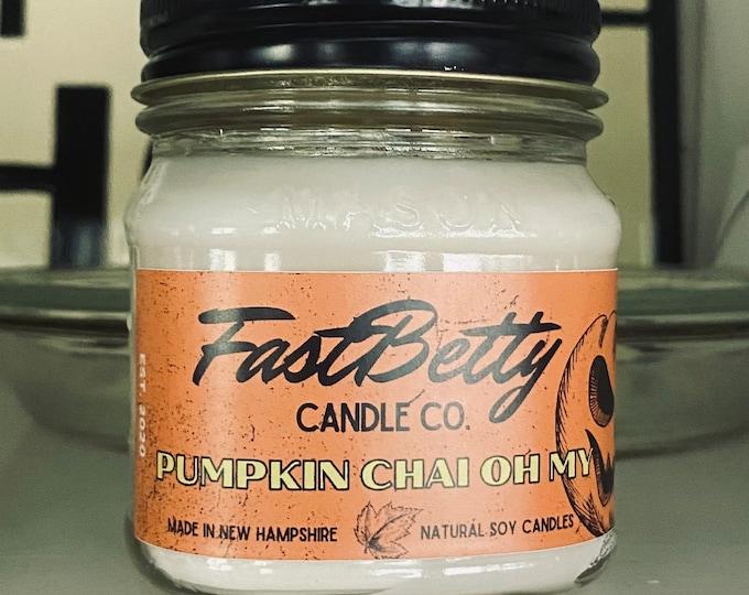 PUMPKIN CHAI | 8oz mason jar | soy candle | Halloween | Candles | fall candles