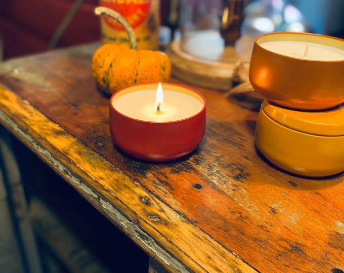 8OZ FALL CANDLE TINS | choose your scent | custom | soy candle | fall candles | autumn decor | harvest | pumpkin