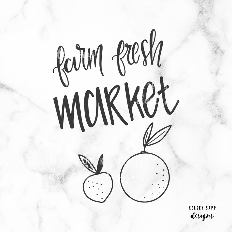 Farm Fresh Market  Hand Lettered Cut File   PNG SVG DXF image 0