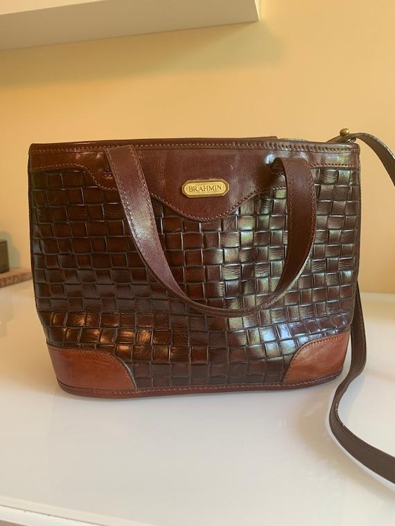 Vintage Brahmin Cognac Leather Handbag
