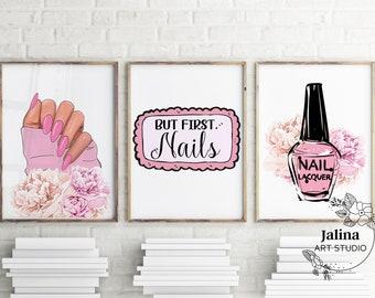 Nail salon wall art set of 3 prints, Printable nail studio wall decor, Nail Tech gift, Nail station decor, Nail room wall art