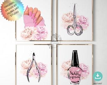 Nail Salon Decor gallery wall set, Beauty Salon Decor, Nail Room Decor, Nail Poster Manicure, Beauty Salon Art, Printable wall art set of 4