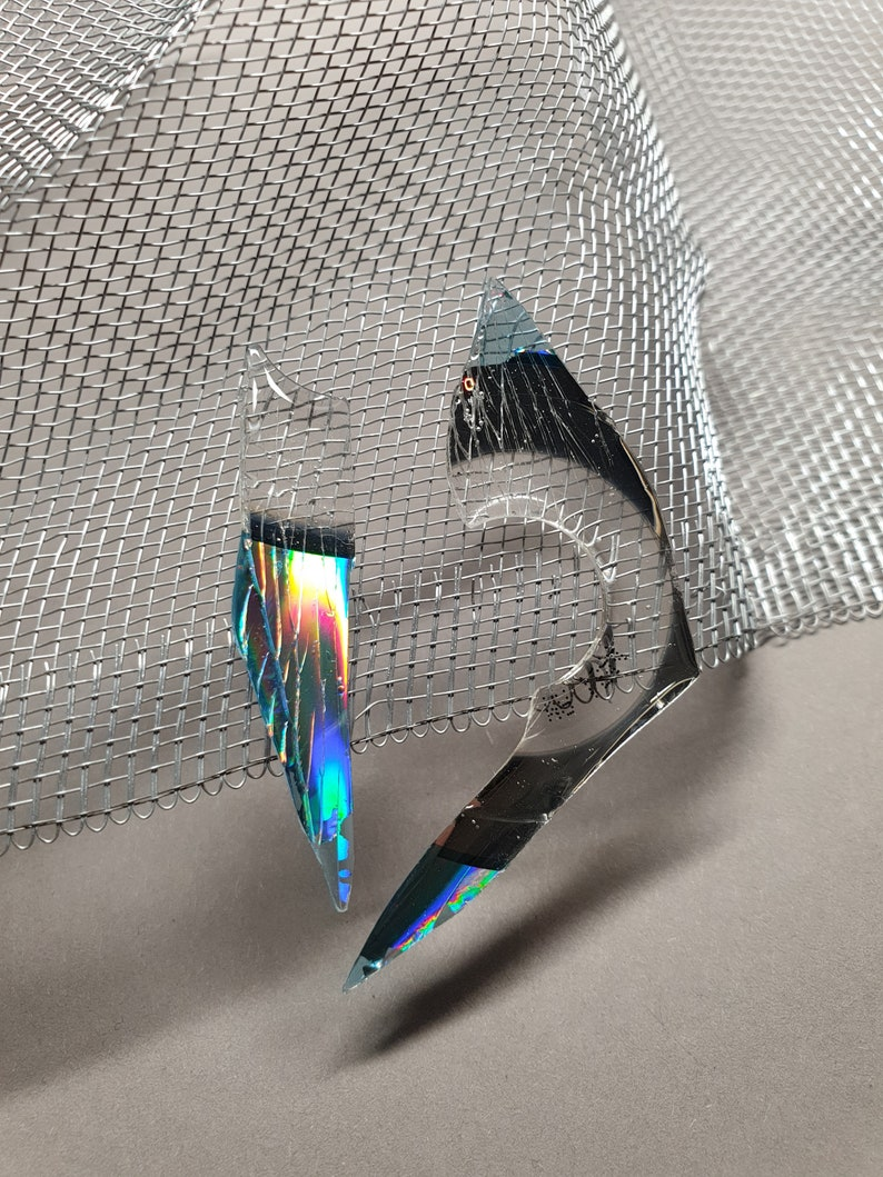 unique holographic earrings Recycled CD