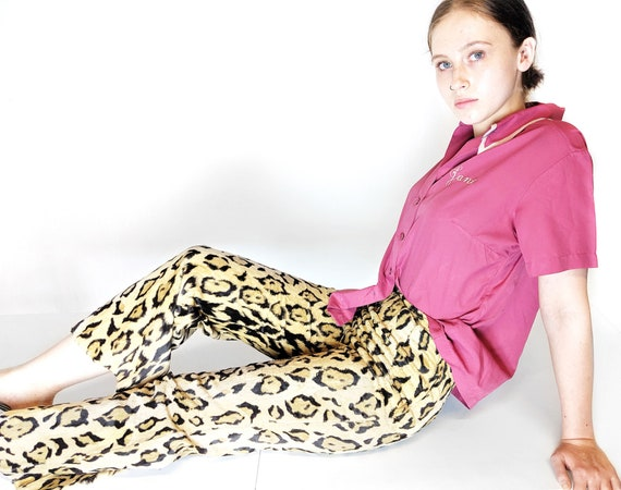 faux fur leopard pants