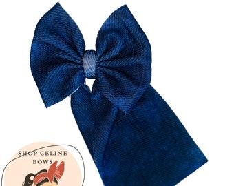 Pink light blue dark blue baby girl Bow Set