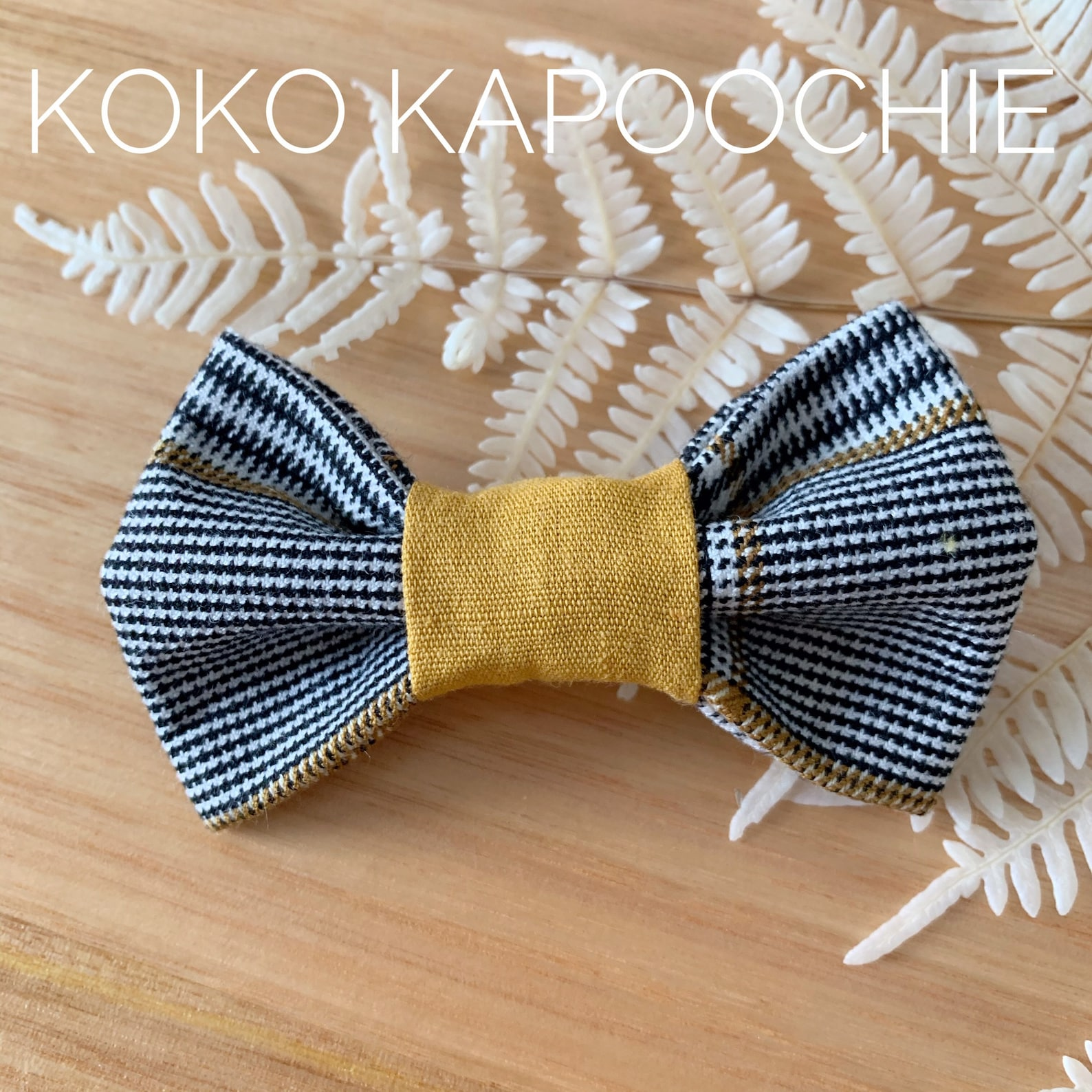 Dog bow tie in mustard-check-style
