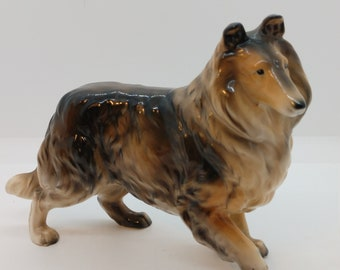 Pottery Animals,Made in Brazil Collectibles free shipping Vintage Collie Figurine Shelf Art Dogs Ceramic,Statue