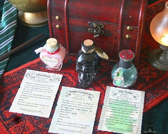 Amortentia Draught of Living Death Floo Powder Potion Bottle Witch & Wizard Alchemy Glass Chest Set