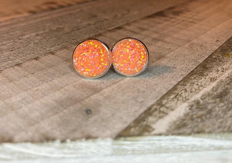Dream Sickle Orange Druzy Stud Earrings Hypoallergenic 12mm Orange Druzy Earrings Studs