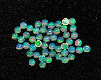 Welo Fire Opal Gemstone Gemstone Cabochon Opal Cabochon 2x2 MM Natural Ethiopian Opal Cabochon Round Shape 25 Pieces