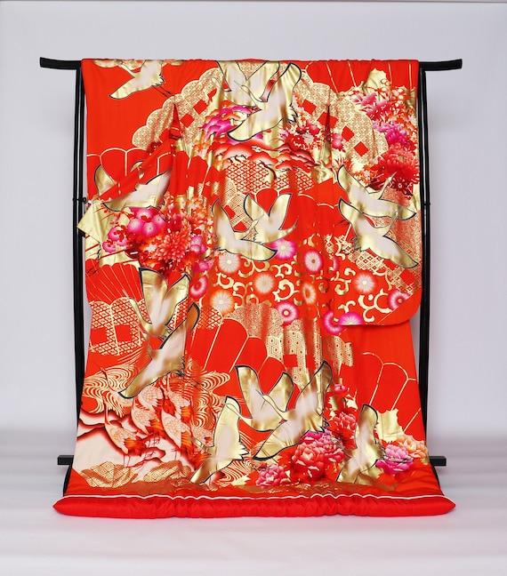 RARE!! Yuzen Uchikake Kimono, Wedding Kimono, Japa