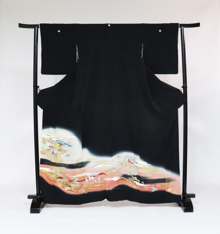 100% Silk Tomdesode Kimono, Kuro Tomesode,black Tomesode, Japanese Kimono Robe, Dress,antique Formal